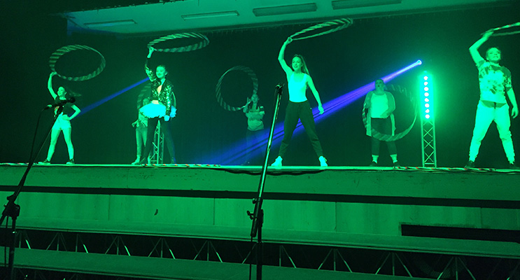 Irrawang girls perform an impressive routine with hoops.
