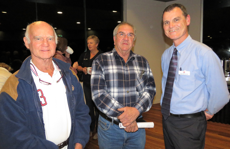 Grahame Rowell and Arthur Baker with Malcolm St Hill from the Department of Industries.