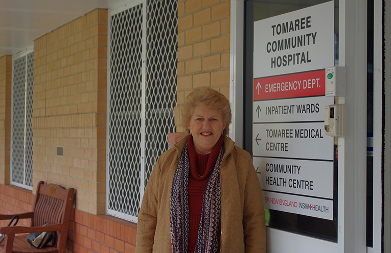 Wendy Secco of Shoal Bay outside the poorly resourced Tomaree Hospital.