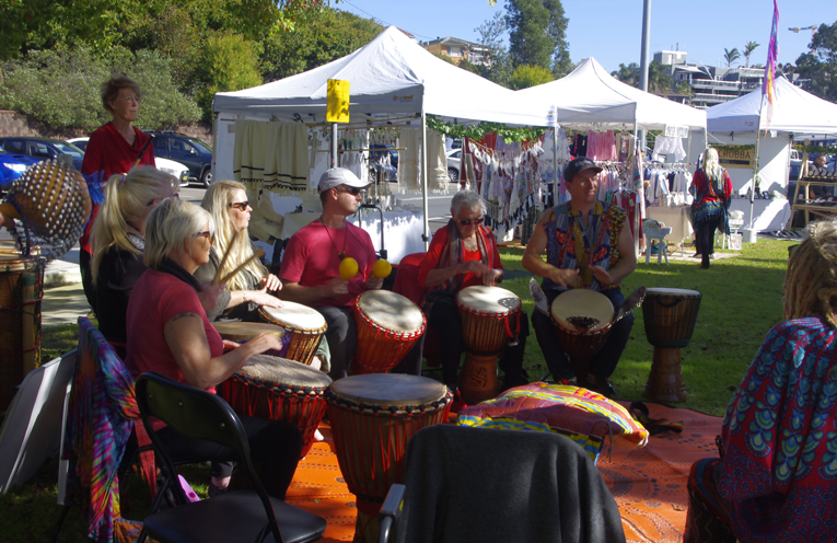 1.African drumming circle at Sacred Tree Markets part of the Fish N Fun Event at Nelson Bay over the weekend.