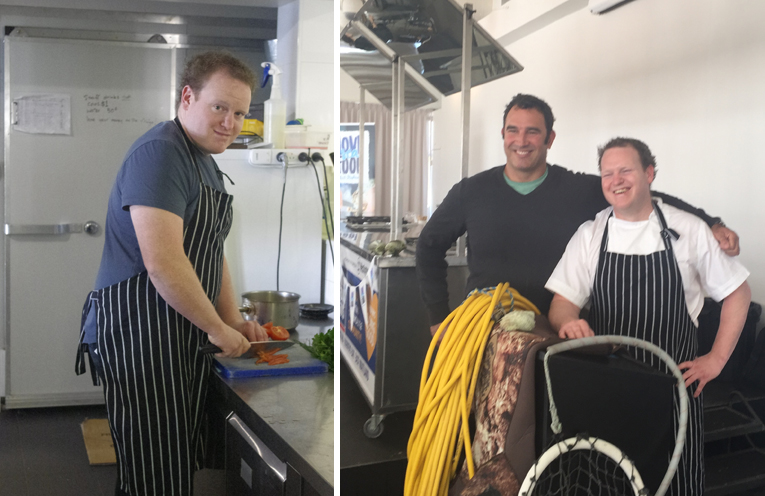 Chef Ben Way preparing for a Trawler to Table meal at Little Beach Boathouse.(left) Greg Finn from Pacific Urchin with Ben Way who cooked up a Turban Shell Tortellini and Sea Urchin Roe Butter dish.  Photos by Marian Sampson.(right)