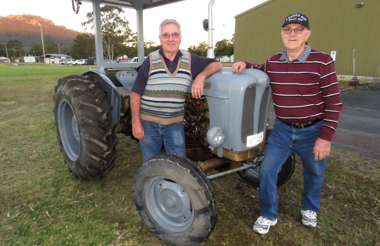Peter Creek and Robert Klemks with a 1958 Fiat 411R tractor.