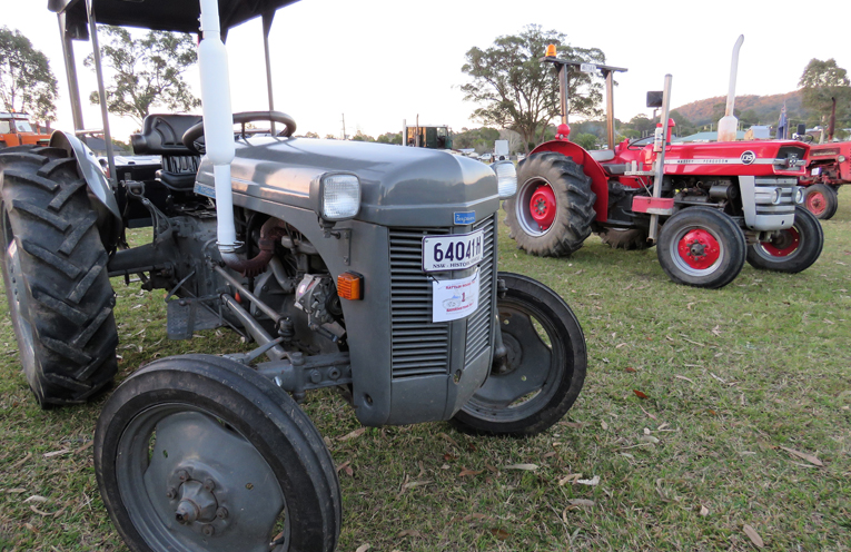 The vintage tractors on display at Bulahdelah Showground.
