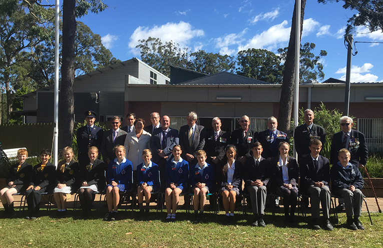 The officials, special guests and representative students in attendance at the 2017 Vietnam Veterans Day service in Medowie.