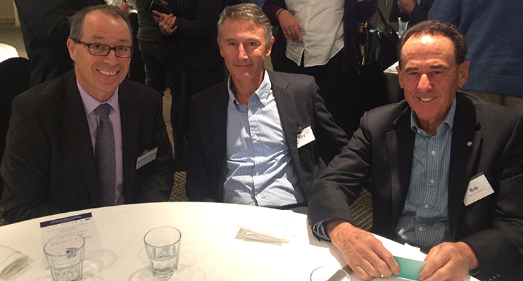 Airport CEO Peter Cock with Bay businessman Rory Milne and former mayor Bob Westbury.