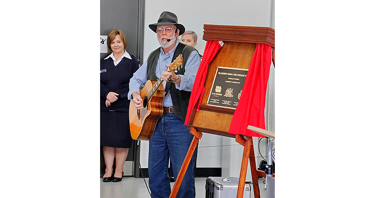 Rob Sanderson voices his musical tribute to the Tilligerry fireys. Photos courtesy of Ian Sherwood