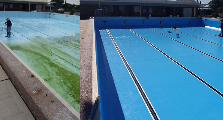 TEA GARDENS POOL: Maintenance work and cleaning.(left) TEA GARDENS POOL: Sparkling clean again. (right)