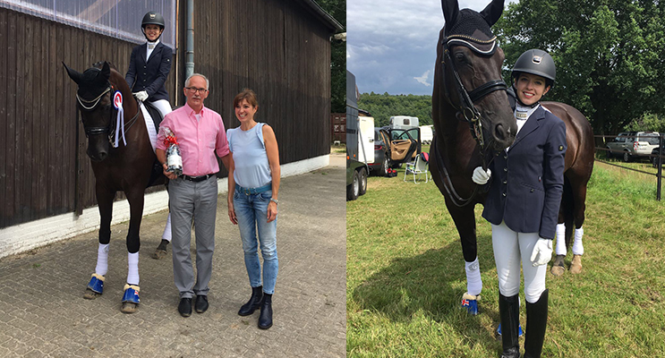 Serena Ireland with the owner of the horse she is riding, Dauphin's Dream, with the major sponsor for the event where Serena won most successful rider of two combined levels.