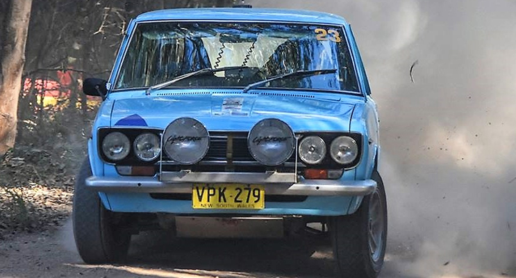 Datsun driver Peter Houghton in action on the Bulahdelah rally course. Photo: Pat Gleeson