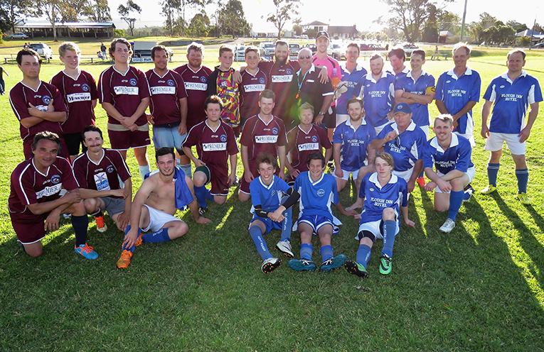 Sharks versus Bullets: Tea Gardens and Bulahdelah Men's soccer teams.