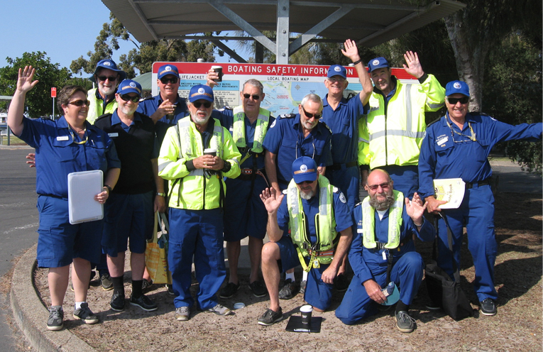 Marine Rescue volunteers gather at the LTP waterfront.