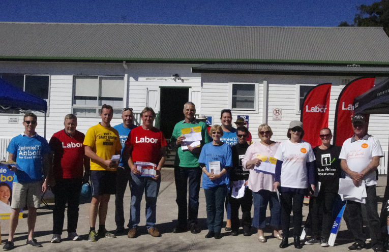 Candidates and volunteers at the Nelson Bay pre-polling. Photo by Marian Sampson
