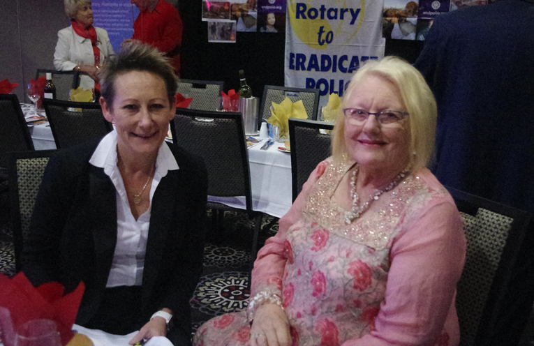 1.Leah Anderson of Salamander Bay Rotary with Susanne Rae who spoke at the World's Greatest Meal event.