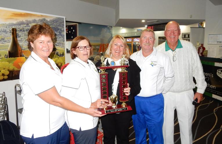 Winners of the Tea Gardens/Hawks Nest Probus Club trophy, Robyn Beaumont, Kayelene Pearson, Jen Nichols, Sales Manager, Palm Lake Resort, Greg Pearson and Max Stephens, President of the Tea Gardens Men's Bowling Club.