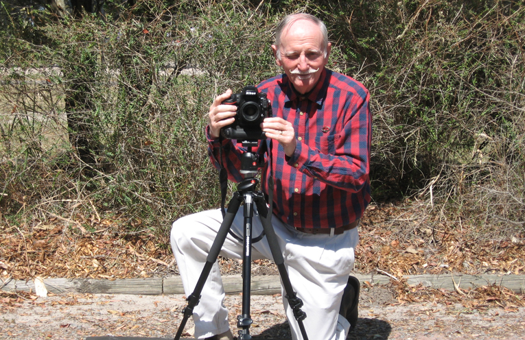 """""""Smile!' – John with his camera at the Tilligerry Habitat."""