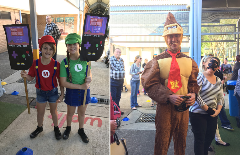 Maddy and Lexi as Mario and Luigi.(left) A Wirreanda teacher dressed as Donkey Kong.(right)