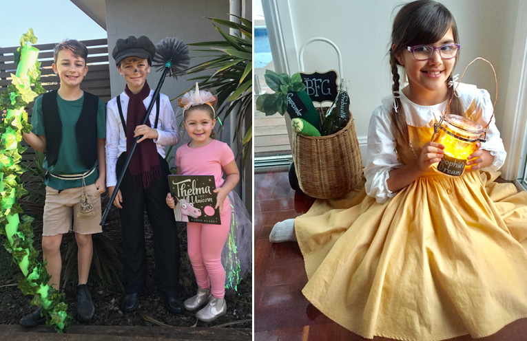 Lachlan, Hayden and Sophia Reddon (Jack and his beanstalk, Bert the chimney sweep from Mary Poppins and Thelma the Unicorn) from Wirreanda Public School.(left) Ahmani Jedniuk of Medowie Christian School as Sophie from The BFG.(right)