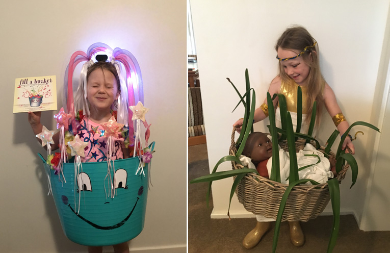 Avah Kitchen dressed as her favourite book about the goodness you can do for others. (left) Starr Petterson from Medowie PS dressed as Pharaoh's Daughter who found Moses in the basket in the banks of the river.(right)