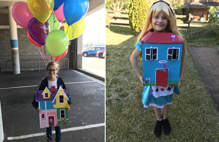 Lyla Magnee as the house from UP.(left) Lucy as Alice in Wonderland when she grows too big for the house.(right)