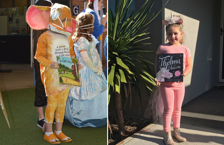 Jade Deacon as the mouse from The Gruffalo was a sensation at the Book Week Parade.(left) Sophia Reddon from Wirreanda Public School, dressed as Thelma the Unicorn.(right)