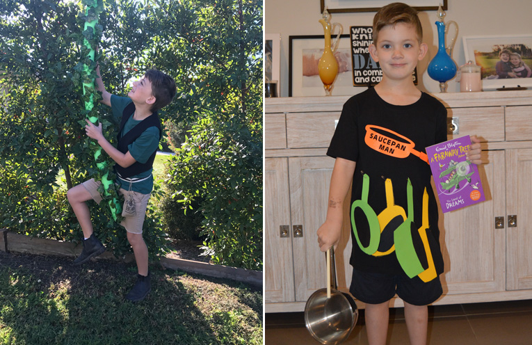 Lachlan Reddon from Wirreanda Public School, dressed as Jack and the Beanstalk.(left) Michael Kilday aka the Saucepan man ready for the book parade.(right)