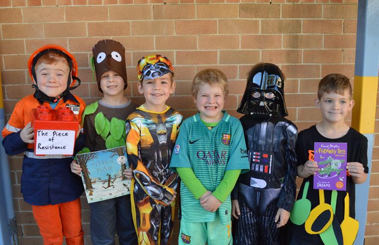 Kindergarten kids at their first Book Week Parade Oaklan Reed Jack Lennox Levi Ross, Dane McKimm Calvin Ross and Michael Kilday.