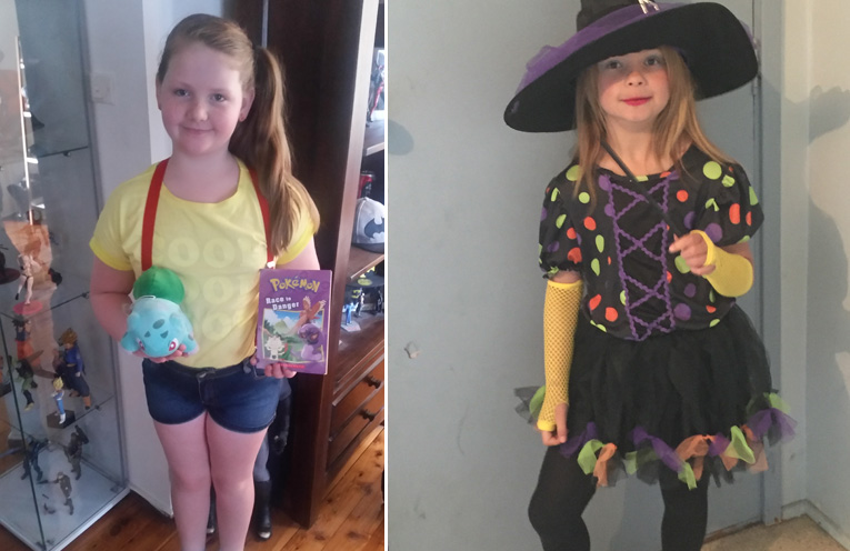 Charlotte dressed up as Misty from Pokemon.(left) Leah Moffat dressed as a witch.(right)