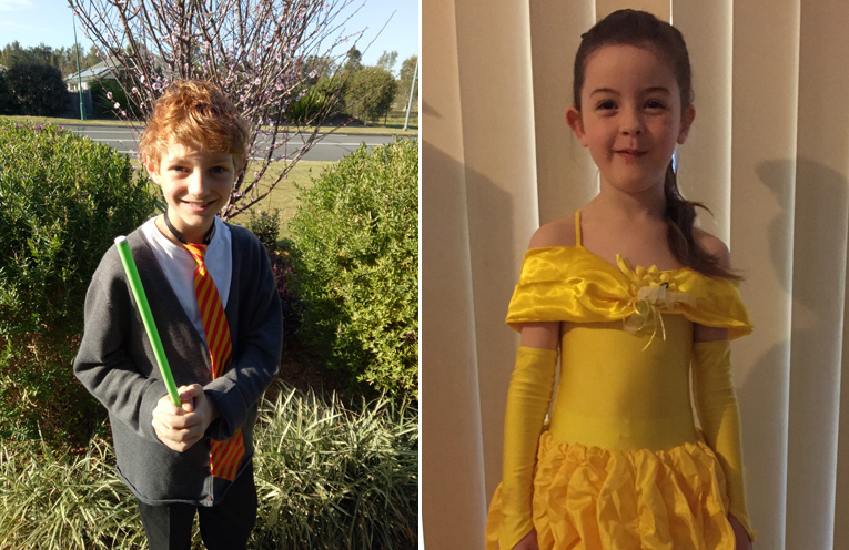 Ashton Morrissey as Ron Weasley.(left) Zoe Lyon went to Wirreanda's book week parade as Belle from Beauty and the Beast.(right)