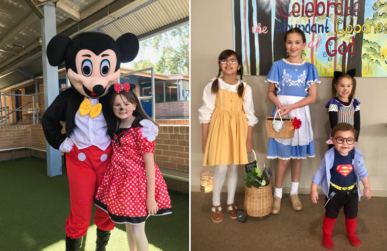 Scarlett Darcy as Minnie Mouse with Mickey Mouse at Wirreanda Public School.(left) Ahmani Anjah Angelina and Archer Jedniuk as Sophie from The BFG , Belle from Beauty and The Beast Daughter of Cheshire Cat and Clark Kent.(right)