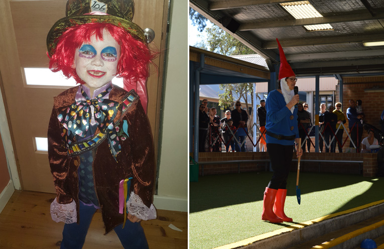 Cody Veitch looked fantastic as the Mad Hatter.(left) Even the teachers got involved, Ms Wilson dressed as a gnome at Wirreanda Public School.(right)