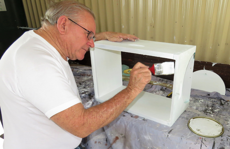 Peter Millen preparing a bee box.