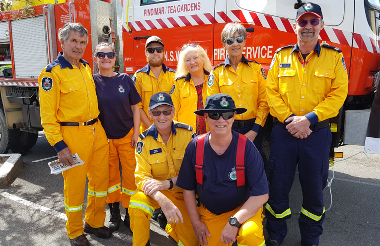 PINDIMAR/TEA GARDENS RURAL FIRE BRIGADE: Back: Ian Treharne, Lesley Cook, Alex Smith, Kerry Patterson, Christine Armour, Ralph Clark. Front: Noel Quince and Maurie Leembruggen.