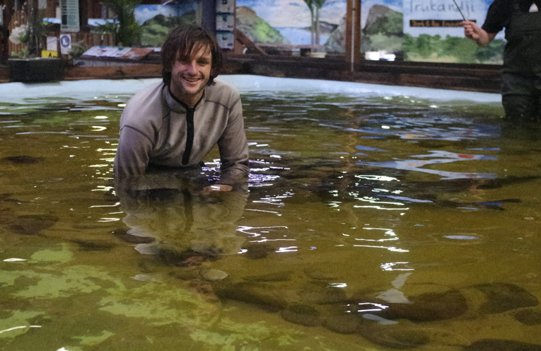 Ryan Pereira at Irukandji Shark and Ray Centre. Photo by Marian Sampson