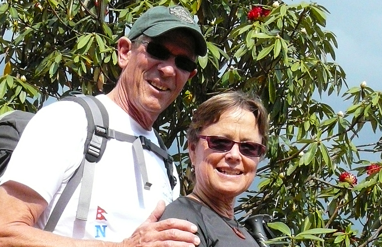 Roger and Cathy Yeo on a pilgrimage to Nepal where their daughter Rachelle was planning to travel.