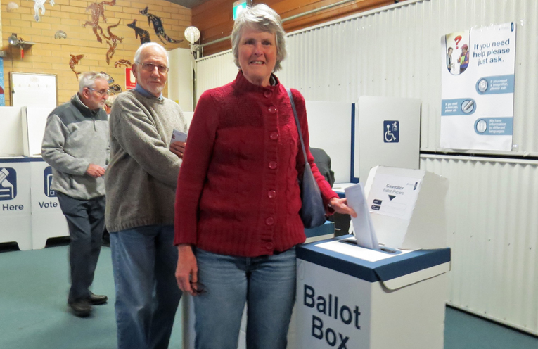 Ron and Barbara Lyle cast their votes in Tea Gardens.