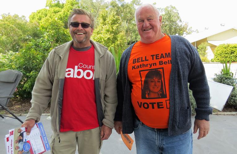 Country Labor volunteer Greg Jenkins and 'Bell Team' supporter John Pettit in Tea Gardens.