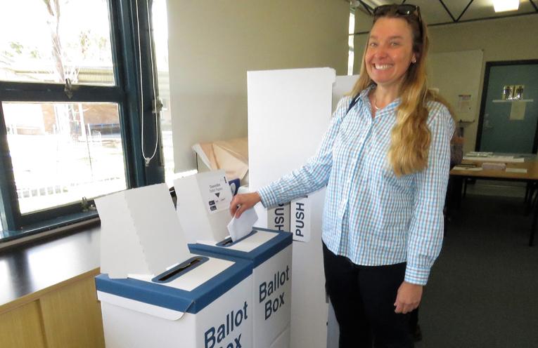Georgina Cunich casts her vote in Bulahdelah.