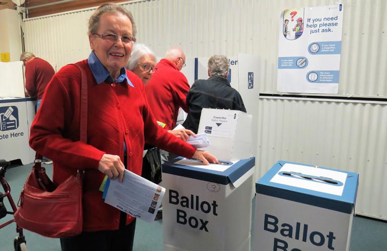 Robin Gregor casts her ballot in Tea Gardens.