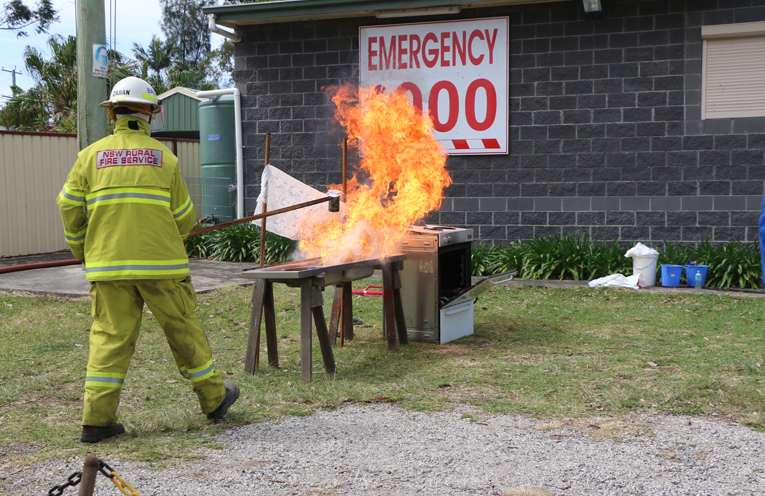 The kitchen fire demonstration was a great learning experience for families in attendance.