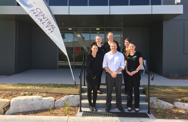 Trainee Receptionist Gabby Verschelden, Head Nurse Bec Verschelden, Nurse Dot Poulter, Trainee Receptionist Sam Almond, Dr Paul Burford and Practice Manager Rachel Peake at the opening to the new building.