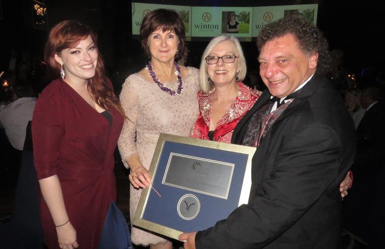 Bulahdelah Chamber President John Sahyoun celebrates at the Hunter Business Awards Ceremony.