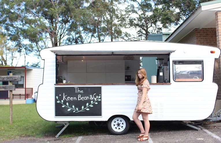 Grace Fewster and her coffee van, Hyacinth.