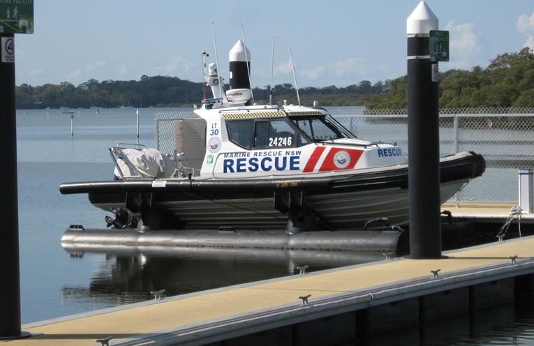 The Lemon Tree Passage rescue craft at its pontoon berth.