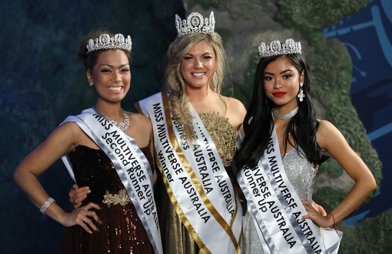 Miss Multiverse Australia Gabrielle Keaton, with second runner up Joie Serrano and first runner up Shez May. Photo: Aris Suwirto