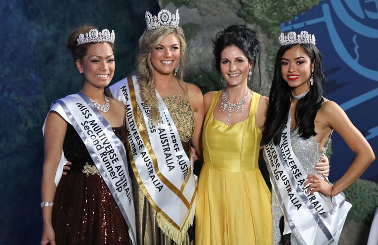 Miss Multiverse Australia, Gabrielle Keaton, with runners up Shez May and Joie Serrano and National Contest Director Yolandi Franken.