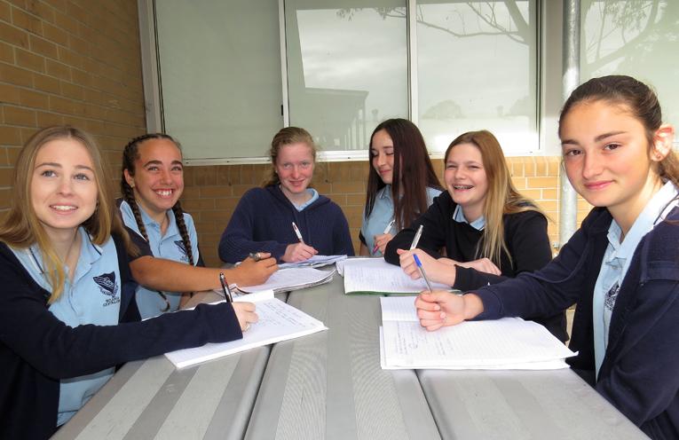 BCS Year 9 students Taylah Smith, Tahlia Mancini, Bianca Clarke, Anjoli Luxon, Natasha Veith and Katerina Poniris are pleased with their NAPLAN results.