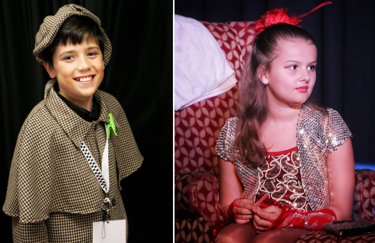 Hunter Jones as Detective Roger Dodgerson.(left) Charlie Hartmann, who went straight from the final performance to hospital, and ended up in surgery having her appendix out. (right)