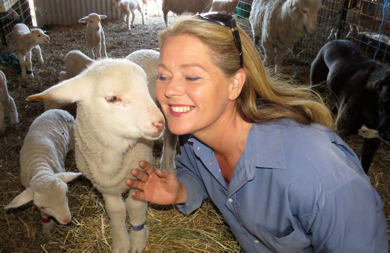 Ethical Farming: Julie Steepe with Verity the lamb at Lucy Land Merino Farm.