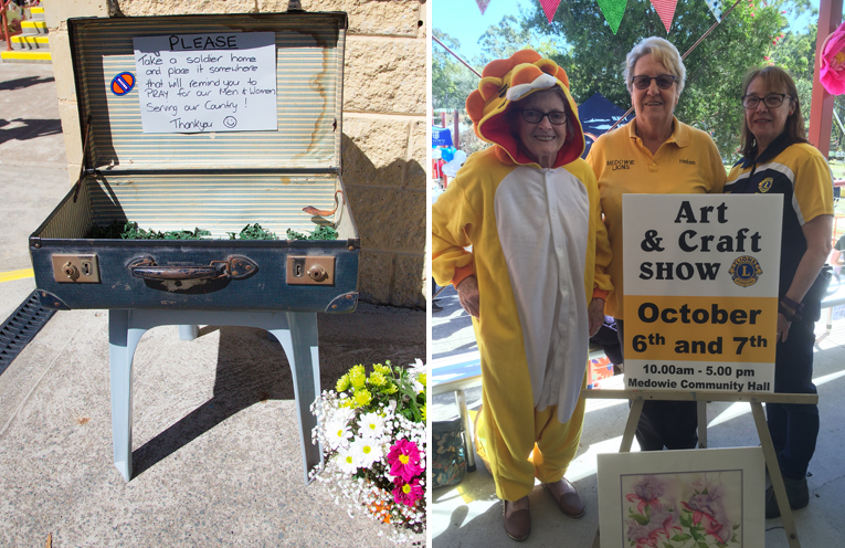 A beautiful tribute to the RAAF families of Medowie. Photo by Pete Neville (left) Medowie Lions Club ladies encouraging people to get involved in this years art and craft show.(right)
