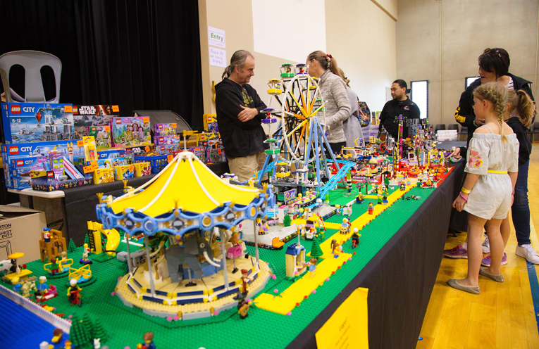 Some of the lego displays to inspire entrants in the lego building competition. Photo by Pete Neville